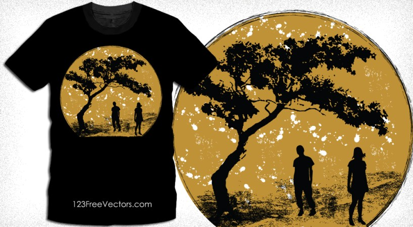 T-Shirt Design with Silhouettes of Young People Standing Under a Tree