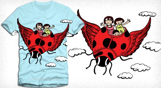 Cute Cartoon Kids Riding a Flying Ladybug Vector T-Shirt Design