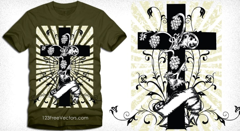 Cross with Floral Vector Tee Graphic Design