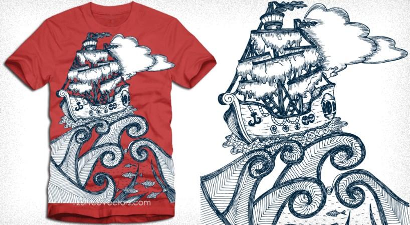 Pirate Ship Vector T-Shirt Design