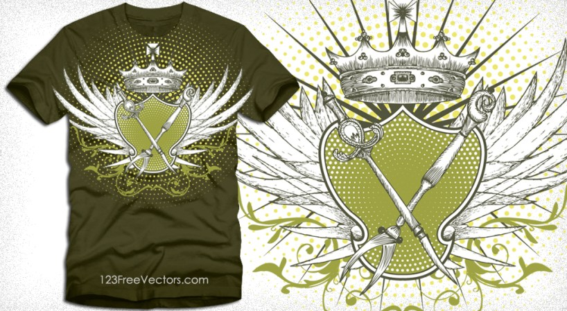 Winged Shield with a Crown T-Shirt Design Vector