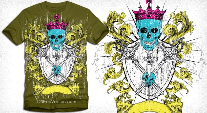 Heraldic Shield with Skull Vector Tee Design