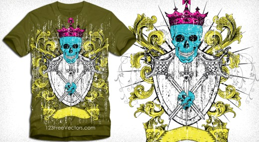 Heraldic Shield with Skull Vector Tee Design