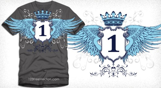 Winged Shield with Crown Apparel Vector T-Shirt Design