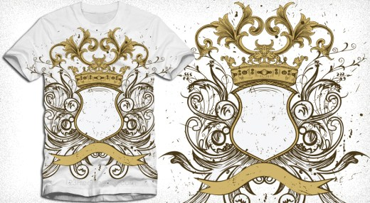 Heraldic Shield with Crown Vector T-Shirt Design