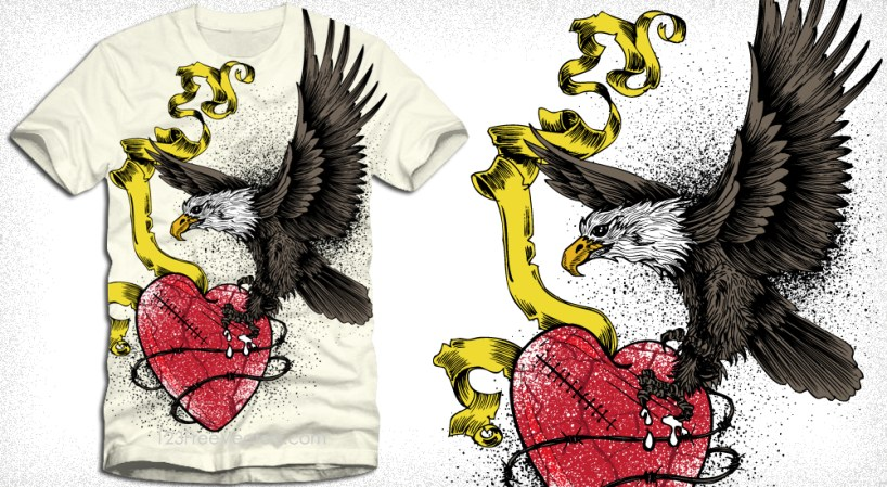 Eagle Catching Heart with Ribbon Apparel Vector Tee Design