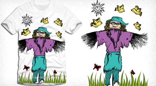 Cartoon Scarecrow with Birds Vector T-Shirt Design