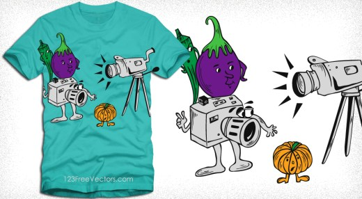 Cartoon Vegetables Characters with Camera Vector T-Shirt Design