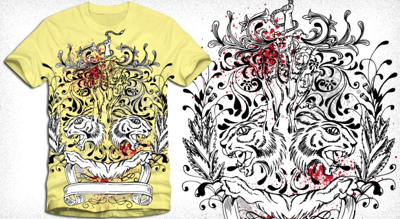 T-Shirt Design with Vintage Floral Element and Ribbon