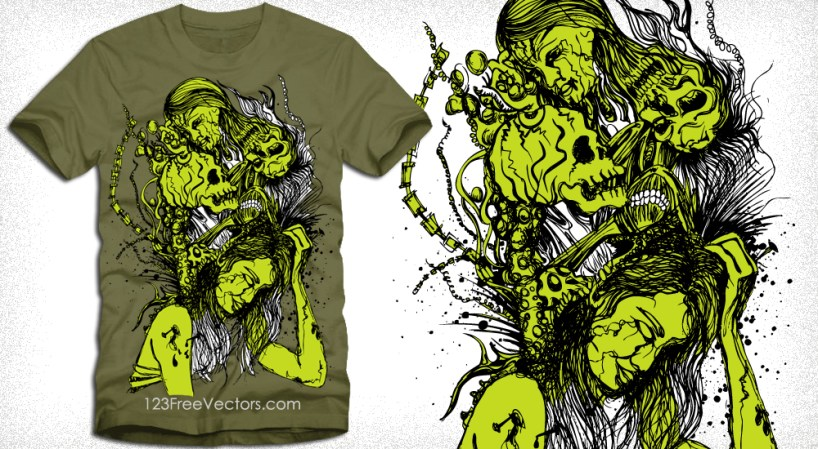 Vector Gothic T-Shirt Design with Woman and Skull