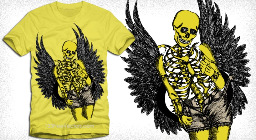 Vector T-Shirt Design with Winged Skeleton