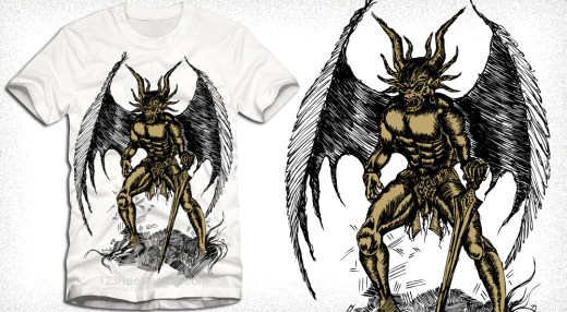 Vector Tee Graphics Design with Winged Demon