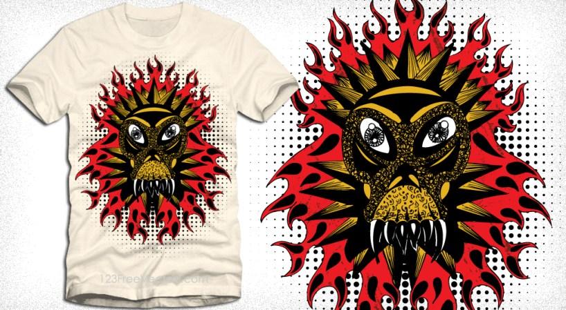 Demon Fire Flame Vector T-Shirt Design Illustration