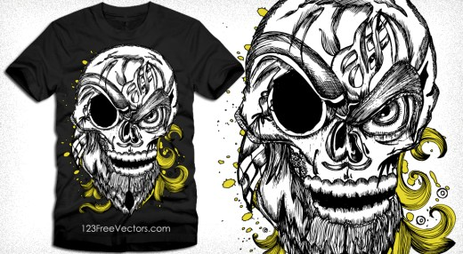 Skull with Floral Vector Art Tee Design