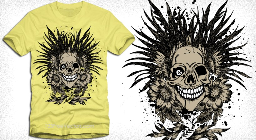Vector T-Shirt Design with Skull and Flowers