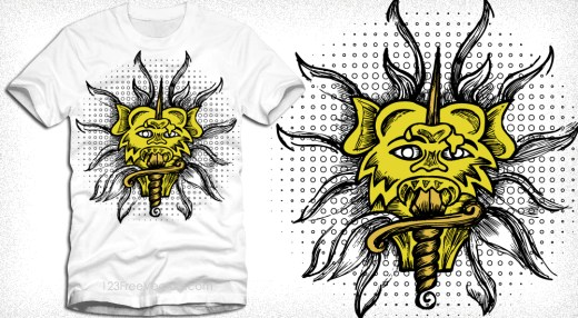 Demon with Sword Vector Tee Design