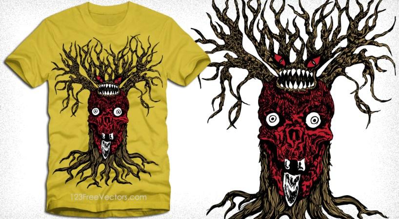Vector T-Shirt Design with Demon Tree