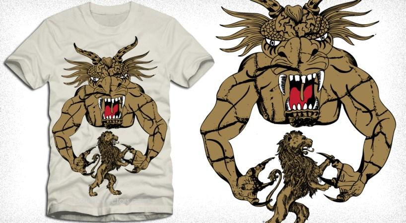 Devil Man with Lion Vector Art Tee Design