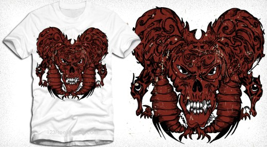Vector Tee Design with Demon Bug