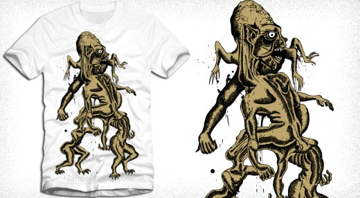 Vector T-Shirt Design with Demon Man