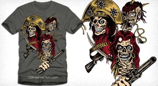 Vector T-Shirt Design with Skull, Gun and Demon Face