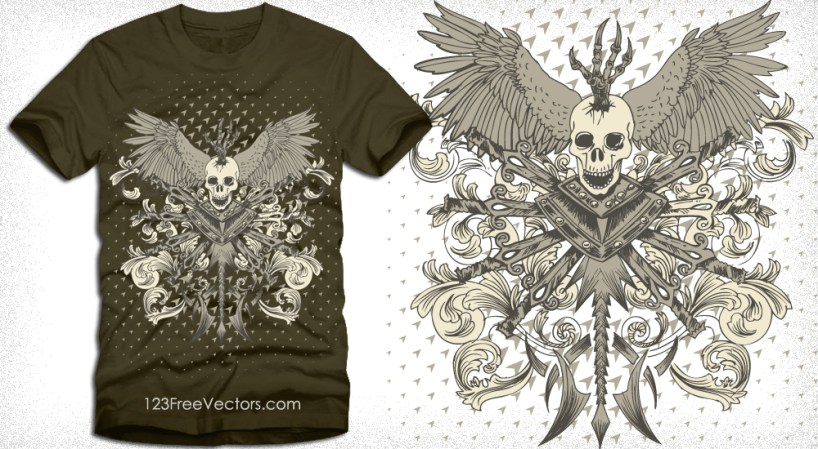 Vector Skull with Wings, Sword and Floral T-Shirt Design