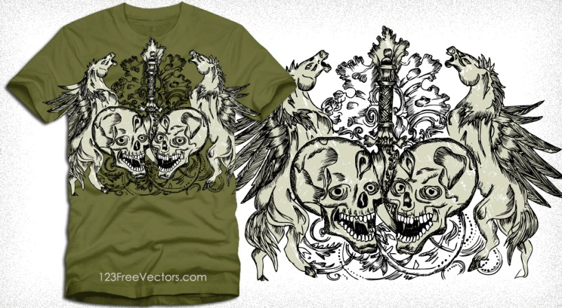 Vector Skull with Winged Horse Tee Graphic Design
