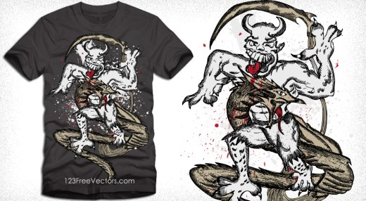 Demon Man with Dragon Vector Tee Design