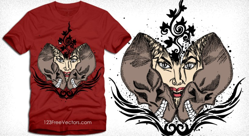 Vector Tee Graphics Design with Skull and Woman Face