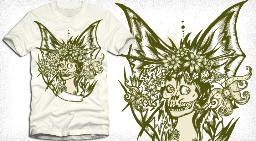 Woman with Skull Face Vector Tee Design