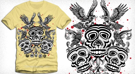 Vector Tee Design with Birds, Skull and Flower