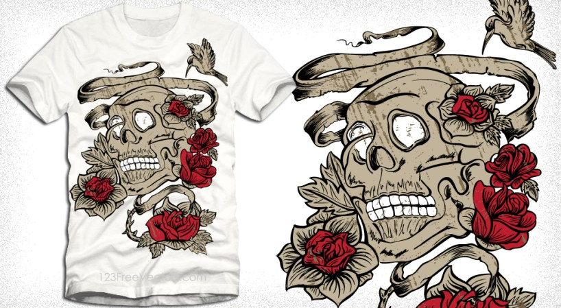 Vintage Vector Tee Design with Skull and Rose Flowers