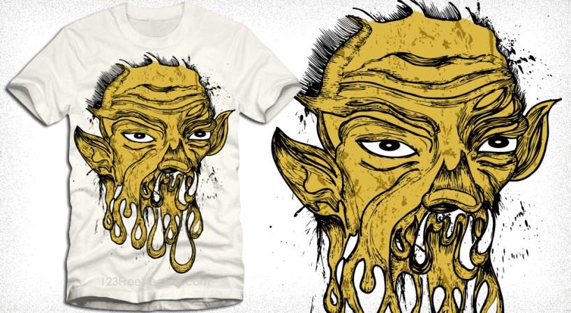 Vector T-Shirt Design with Demon Man
