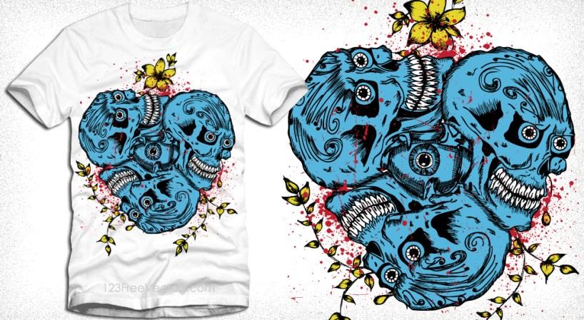 Vector Skull with Flowers T-Shirt Design