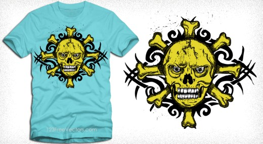 Vector Tribal Tattoo Skull T-Shirt Design