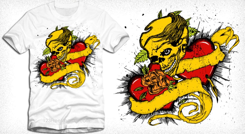 Vector T-Shirt Design with Skull, Scroll and Heart