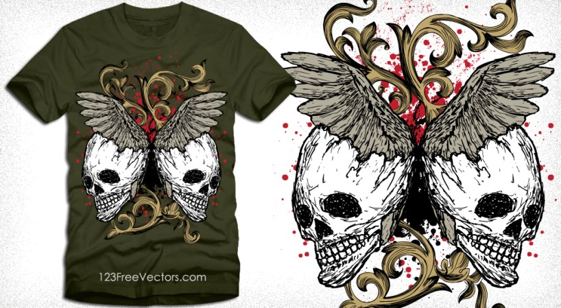 Vector Tee Design Illustration with Skull, Floral and Wings