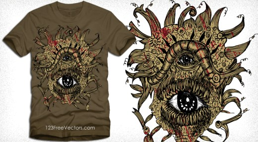 Vector T-Shirt Design with Horror Eyes