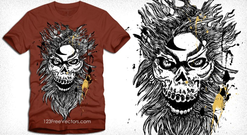 Vector T-Shirt Design with Horror Skull