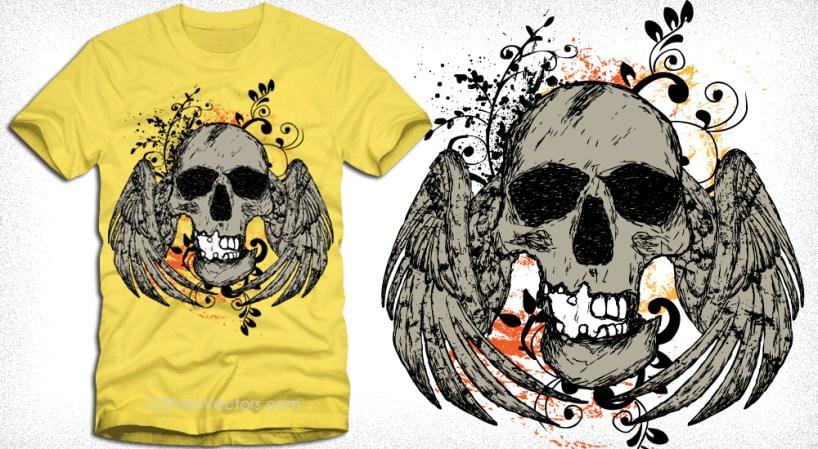 T-Shirt Design with Winged Skull Vector Illustration