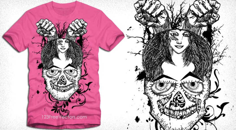Vector Tee Design with Skull, Girl, Floral and Fists