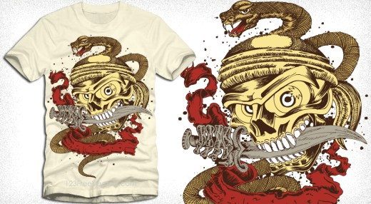 Skull with Snake Vector T-Shirt Design