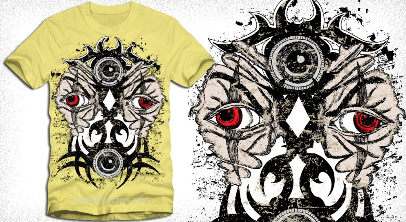 Vector T-Shirt Design with Demon Tattoo Face