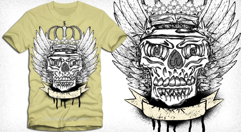 Vector Winged Skull with Crown and Banner T-Shirt Design