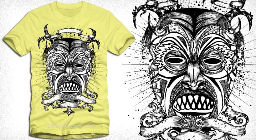 Vector T-Shirt Design with Demon Man Face