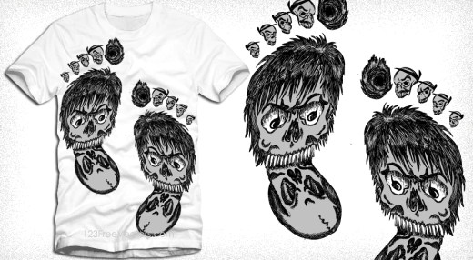 Vector T-Shirt Design with Foot Face