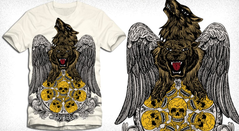Vector Tee Design with Wolf, Tiger, Wings and Skull