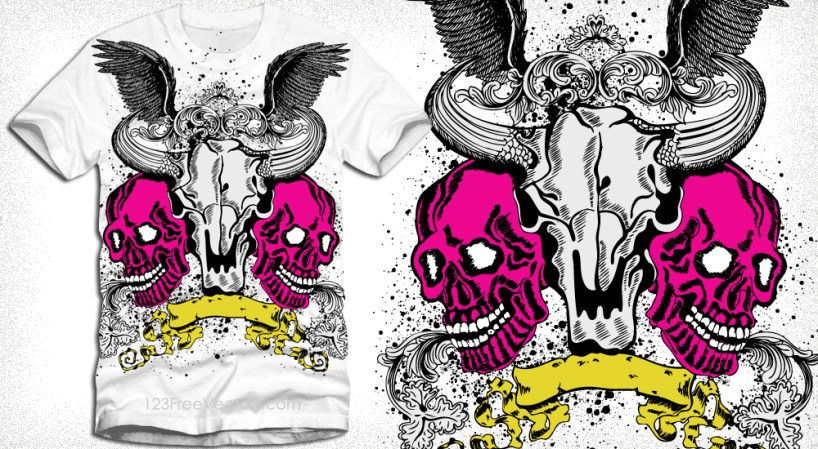 Vector T-Shirt Design with Skulls, Scroll and Wings