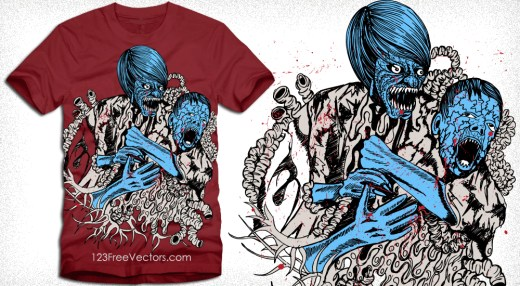 Demon Man Attack on Boy Vector T-Shirt Design