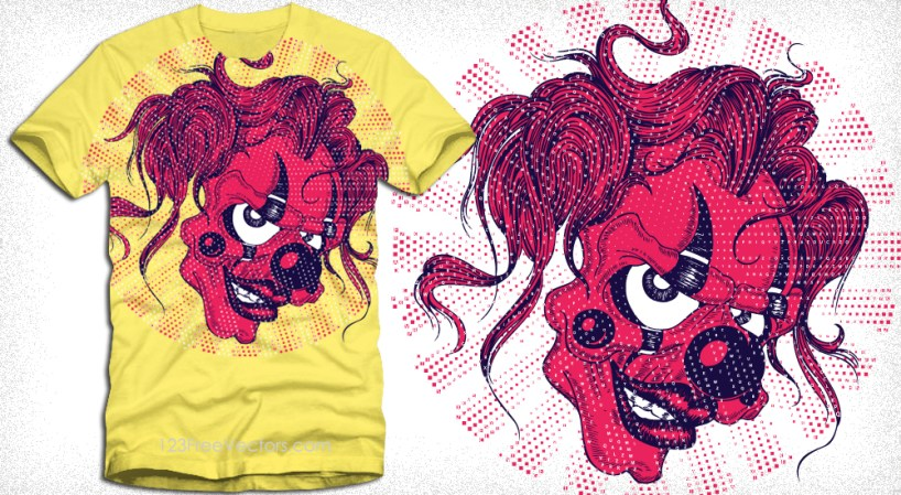 Vector T-Shirt Design with Scary Clown Face